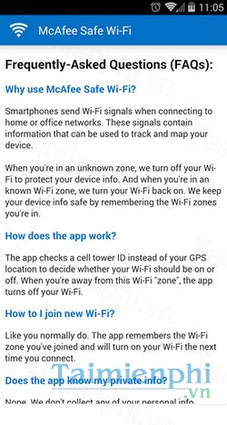 download mcafee safe wifi cho android